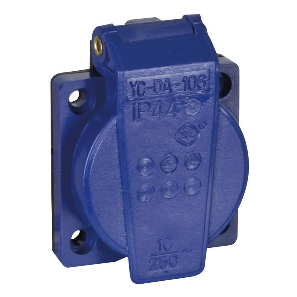 Image of Showtec PVC schuko inbouw 230V/240V female blauw