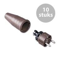 Keraf 521 Schuko 230V/240V stekker male bruin (per 10)