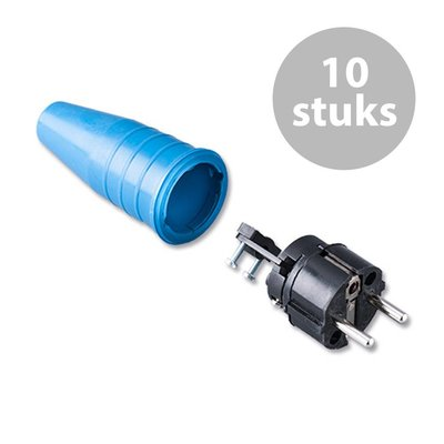 Keraf 521 Schuko 230V/240V stekker male zwart/blauw (per 10)