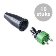 Keraf 521 Schuko 230V/240V stekker male groen/zwart (per 10)