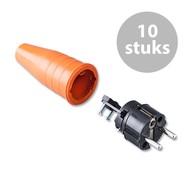 Keraf 521 Schuko 230V/240V stekker male zwart/oranje (per 10)