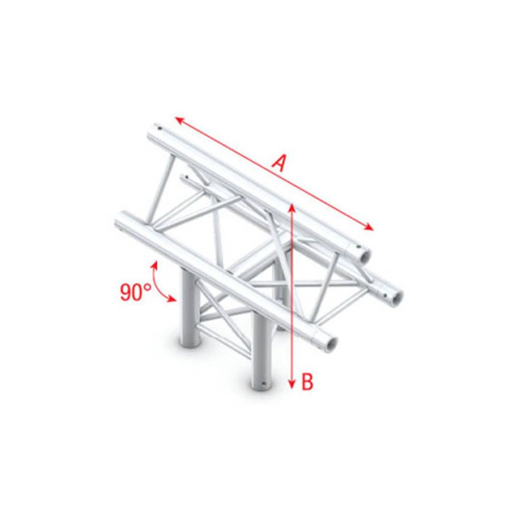 Image of Showtec FT30 Driehoek truss 019 3-weg T-stuk 90g apex up
