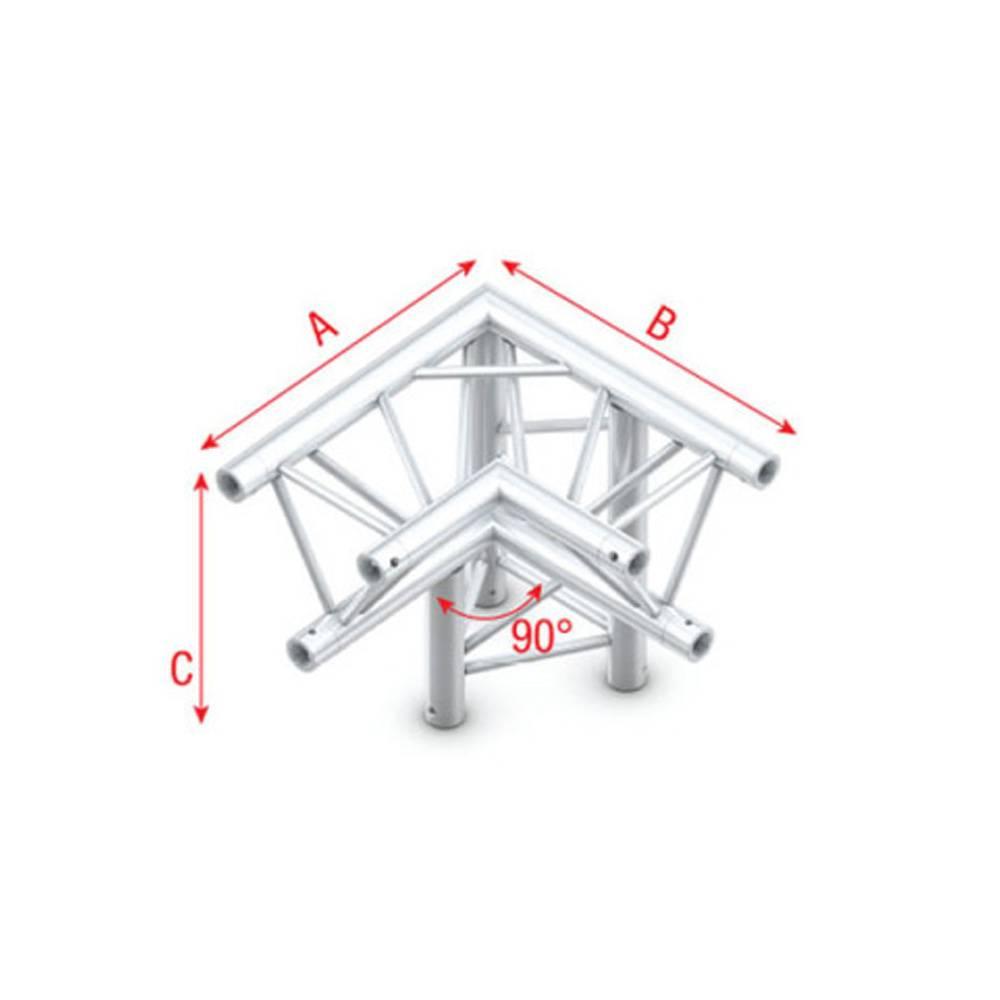 Image of Showtec FT30 Driehoek truss 012 3-weg hoek 90g apex down