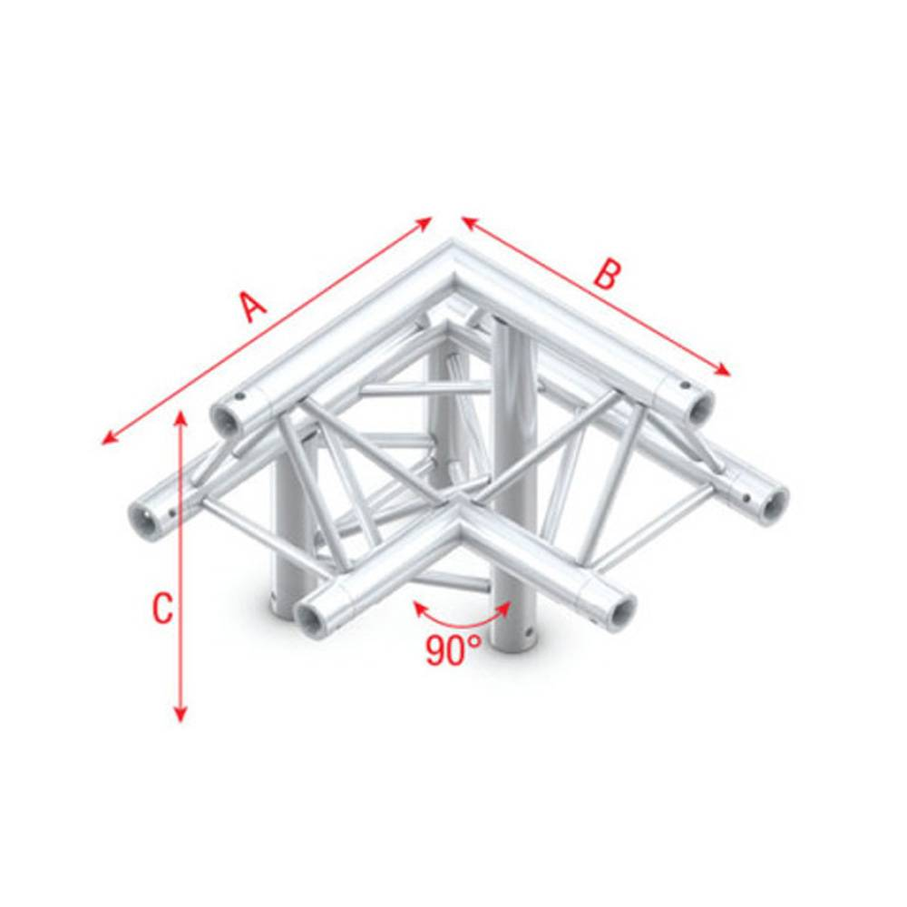 Image of Showtec GT30 Driehoek truss 011 3-weg hoek 90g apex up