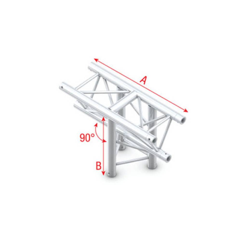 Image of Showtec GT30 Driehoek truss 018 3-weg T-stuk 90g apex down