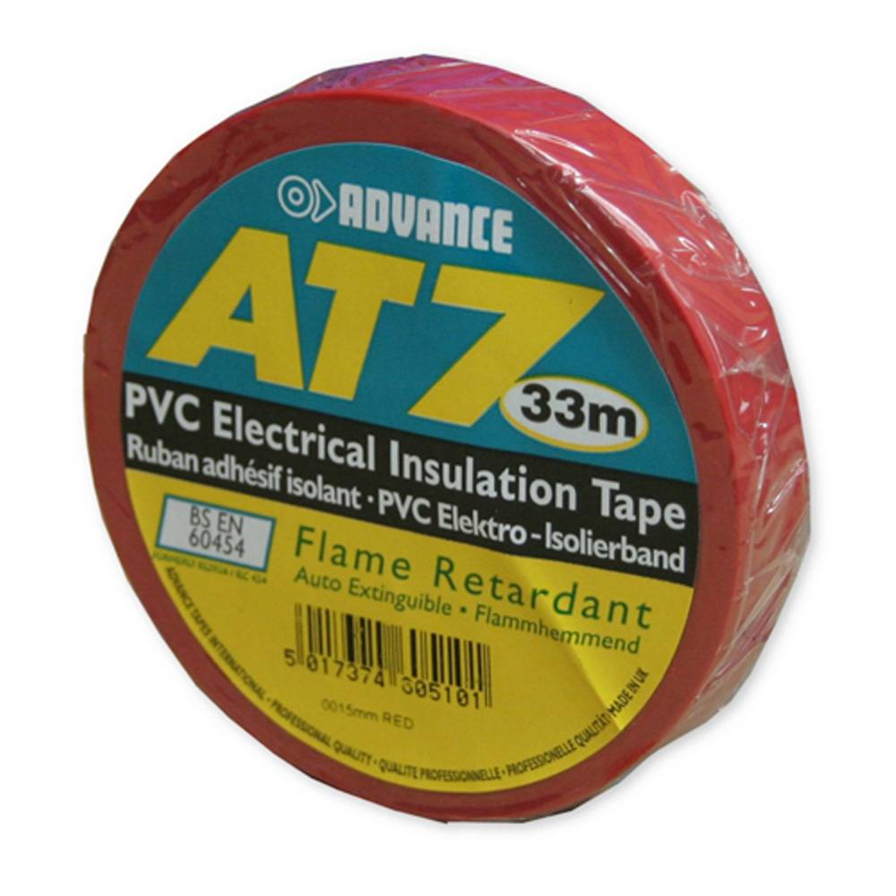 Image of Advance AT7 PVC tape 15mm 33m rood