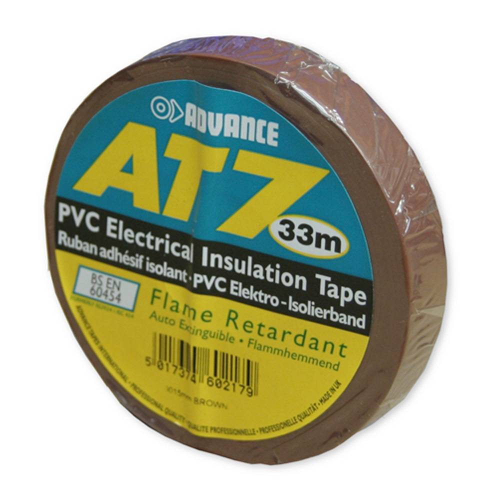 Image of Advance AT7 PVC tape 15mm 33m bruin