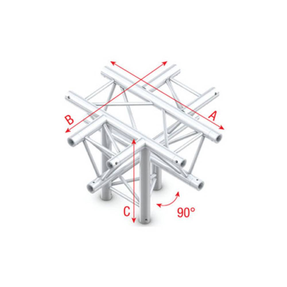 Image of Showtec DT22 Decotruss 024 5-weg kruis met down 90g apex down