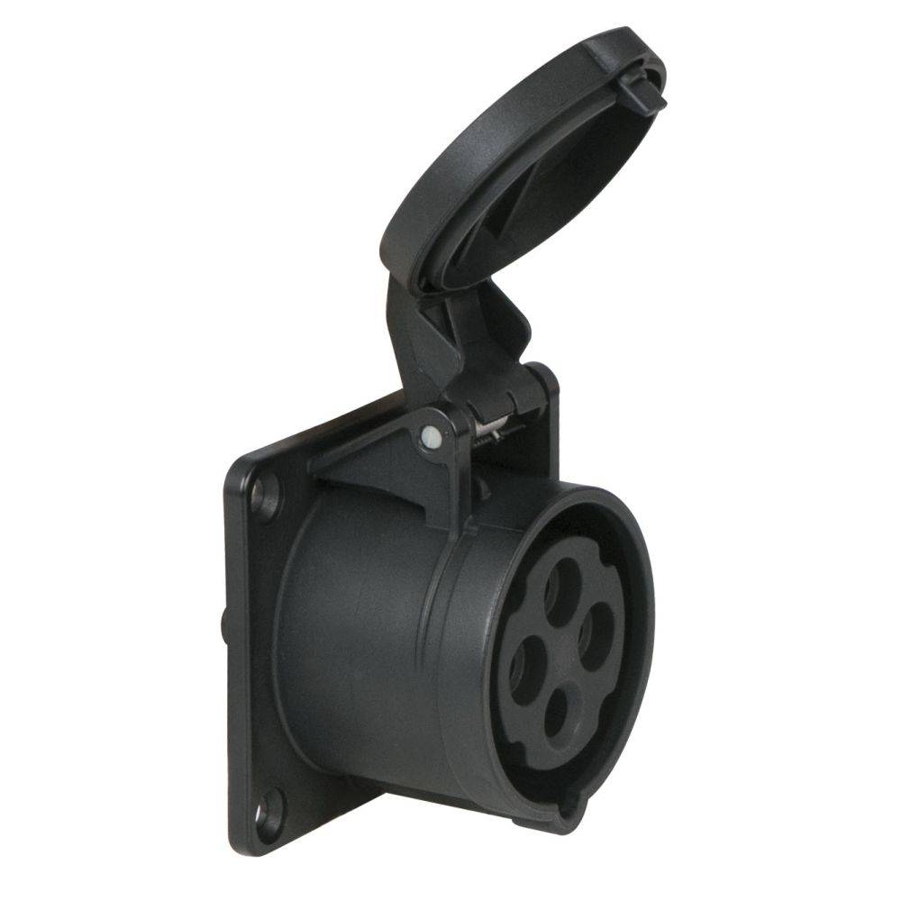Image of PCE CEE 16A 4-polige inbouw socket female zwart