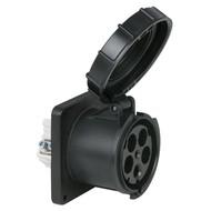 PCE CEE 125A 5-polige inbouw socket female IP67 zwart