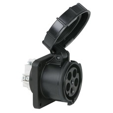 PCE CEE 63A 5-polige inbouw socket female IP67 zwart