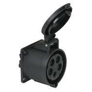 PCE CEE 32A 5-polige inbouw socket female zwart