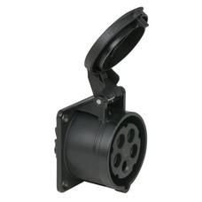 PCE CEE 16A 5-polige inbouw socket female zwart