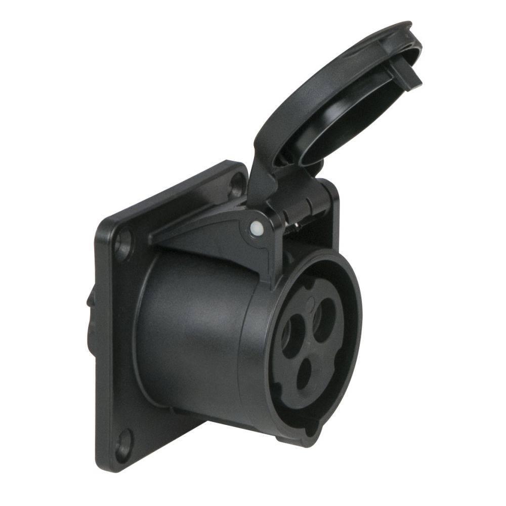 Image of PCE CEE 16A 3-polige inbouw socket female zwart