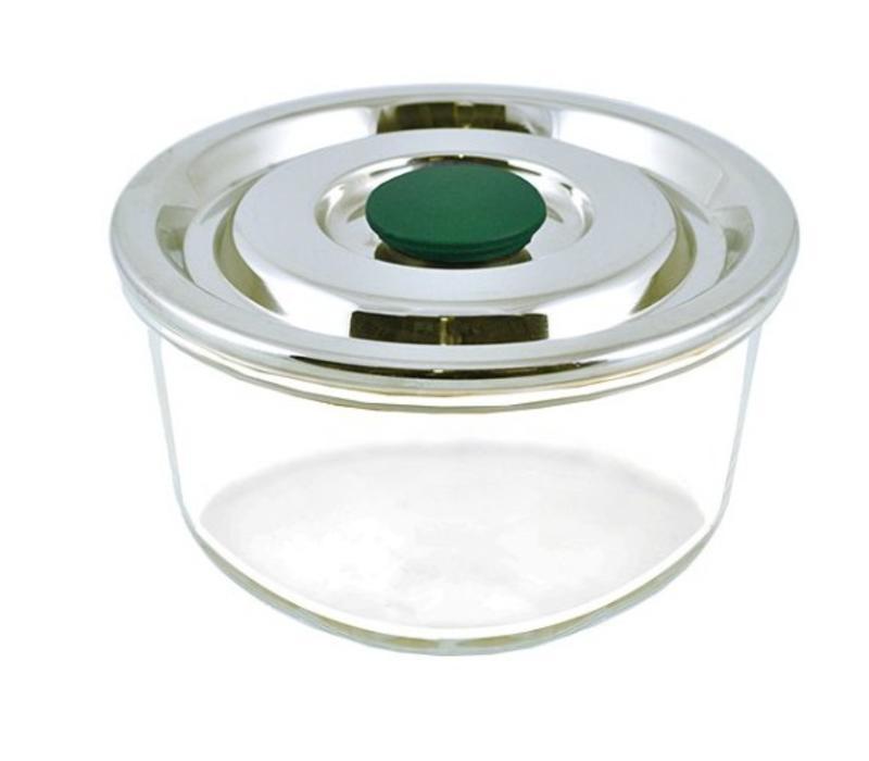 Afsluitbare glazen schaal met rvs deksel