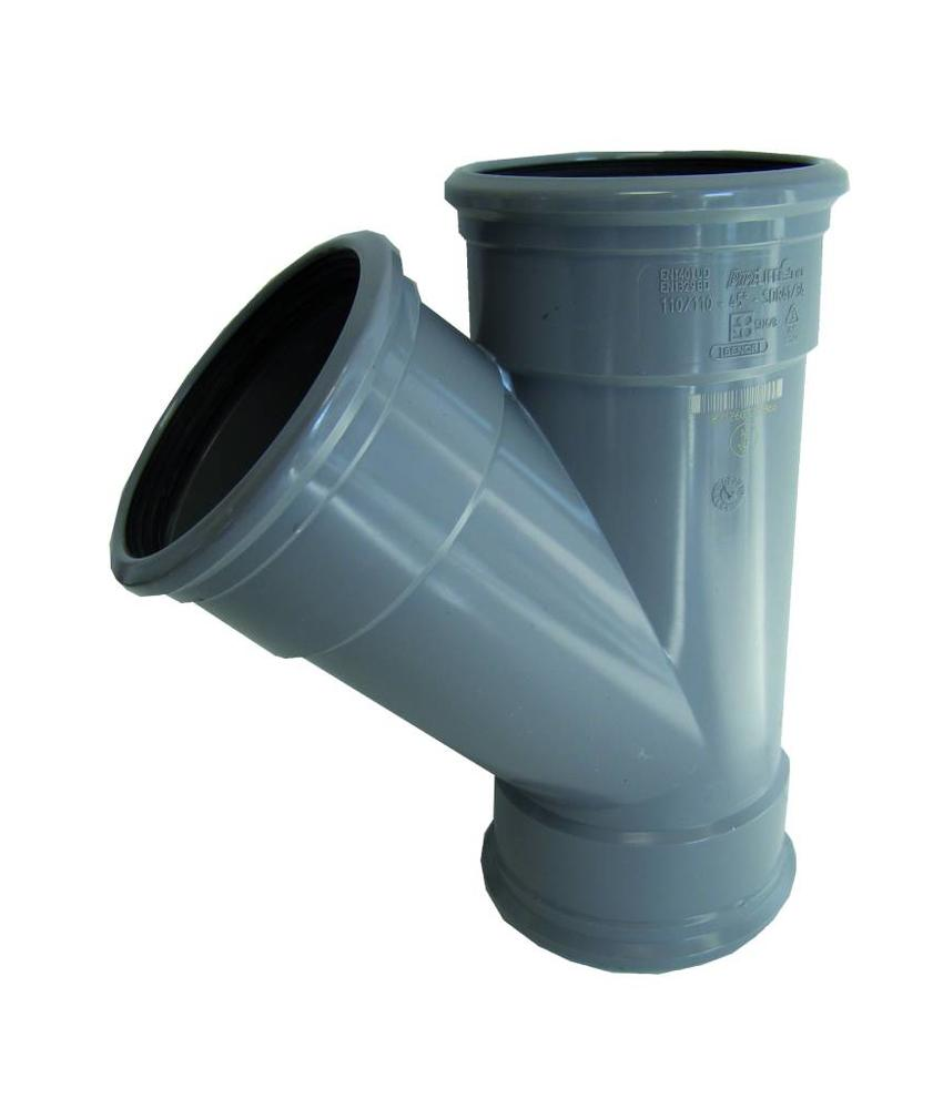PVC T-stuk 45gr Ø 125mm SN4, 3 x mof