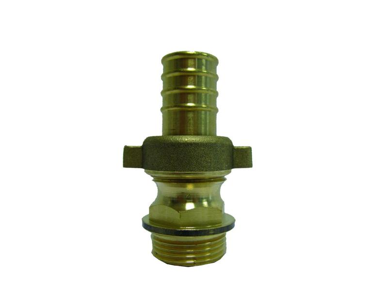 1'' (bui.dr) x 32mm (slangtule) messing driedelige slangkoppeling