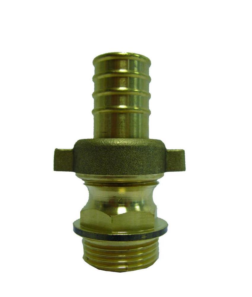 1 1/4'' (bui.dr) x 40 mm (slangtule) messing driedelige slangkoppeling
