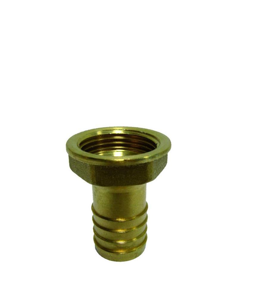 3/4'' (bi.dr) x 20mm messing slangtule met binnendraad
