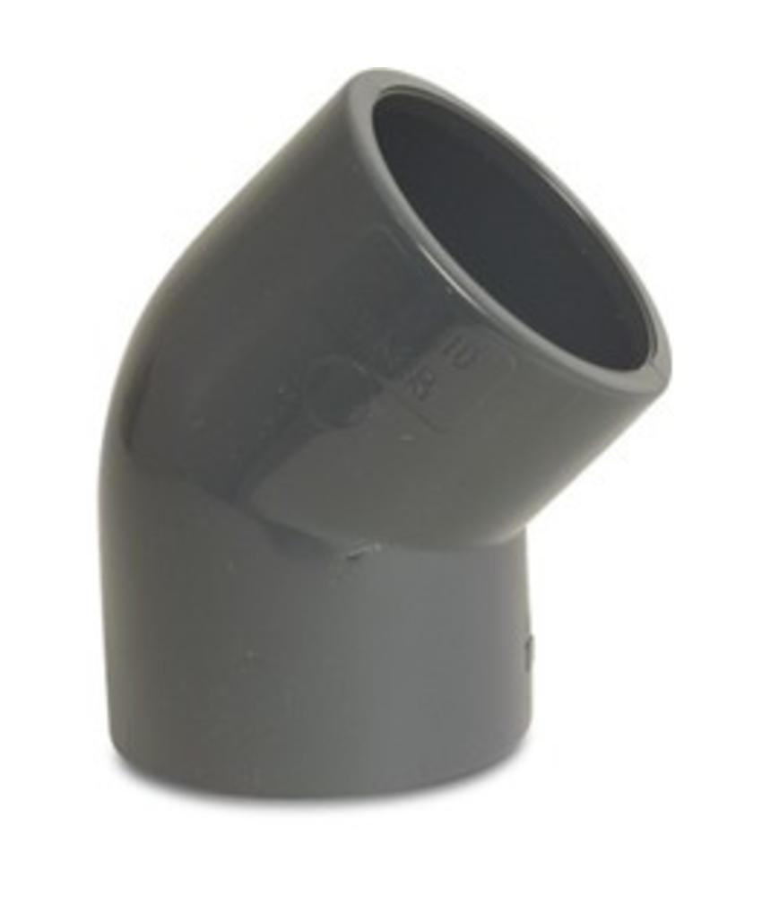 VDL PVC knie 45 graden Ø 63 mm, PN10