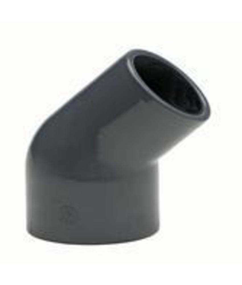 VDL PVC verloopknie Ø 50 x 50/40 45 graden