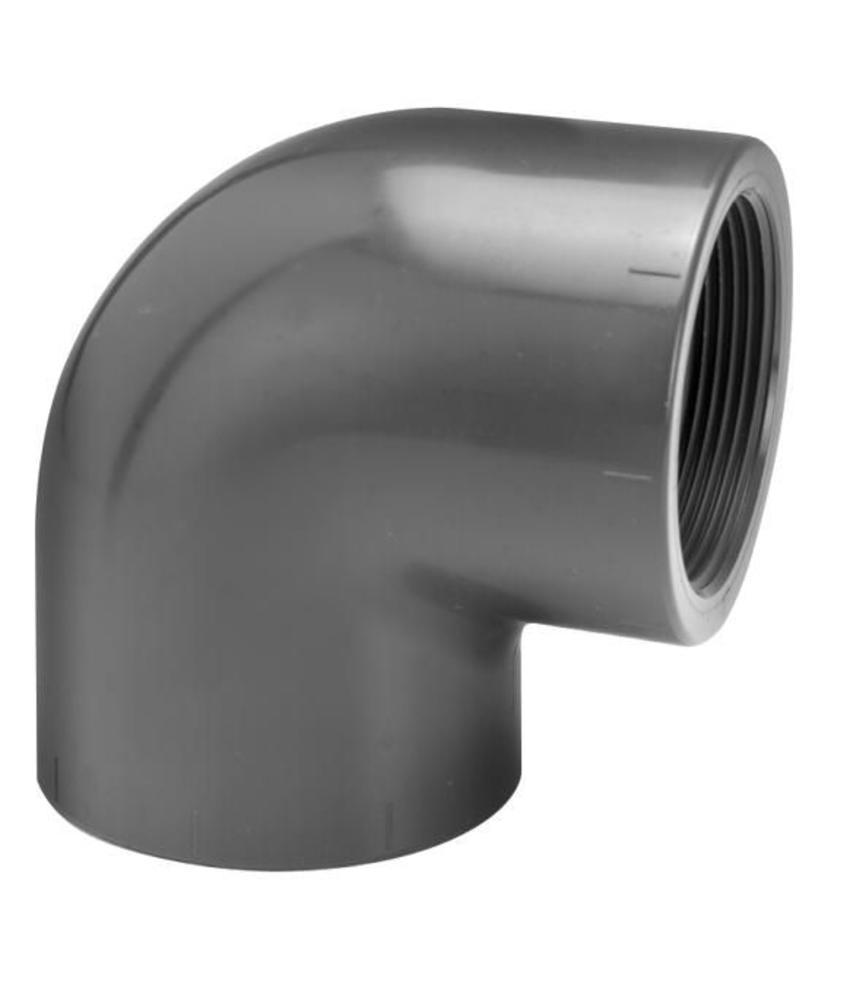 VDL PVC knie Ø 63 x 2'' 90 graden met binnendraad