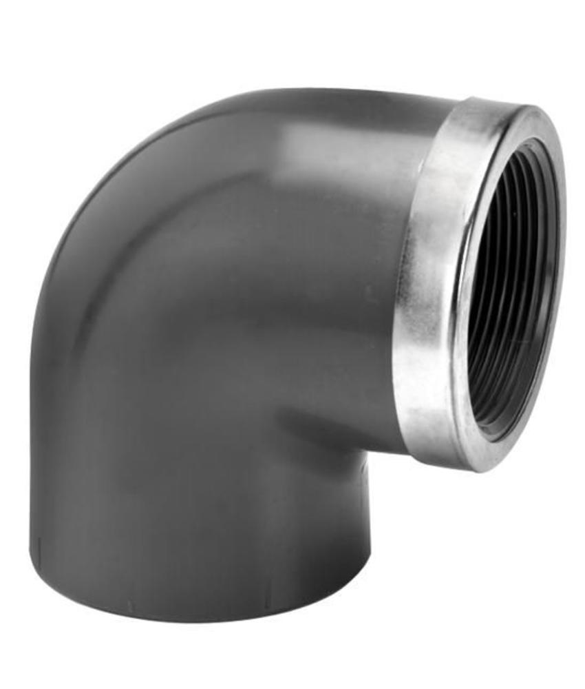 VDL PVC knie Ø 75 x 2 1/2'' 90 graden met binnendraad en ring