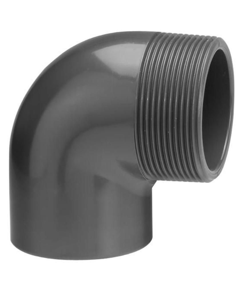 VDL PVC knie Ø 25 x 1'' 90 graden met buitendraad
