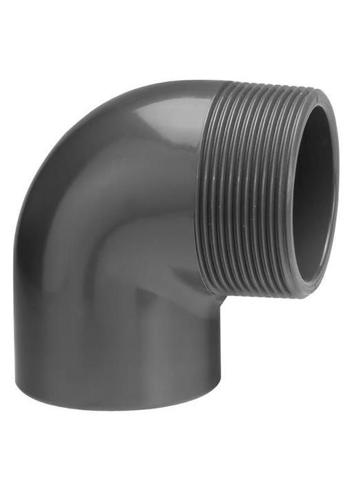 VDL PVC knie Ø 50 x 2'' 90 graden met buitendraad