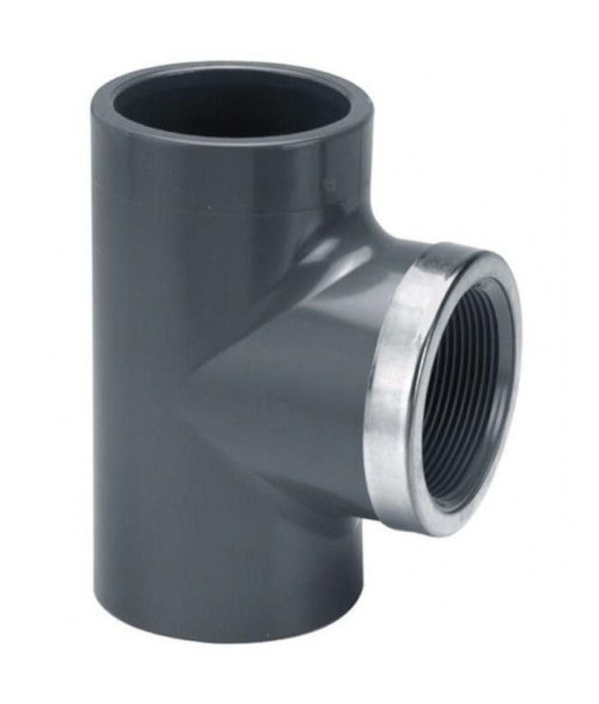 VDL PVC T-Stuk Ø 20 x 1/2'' PN16 met RVS ring