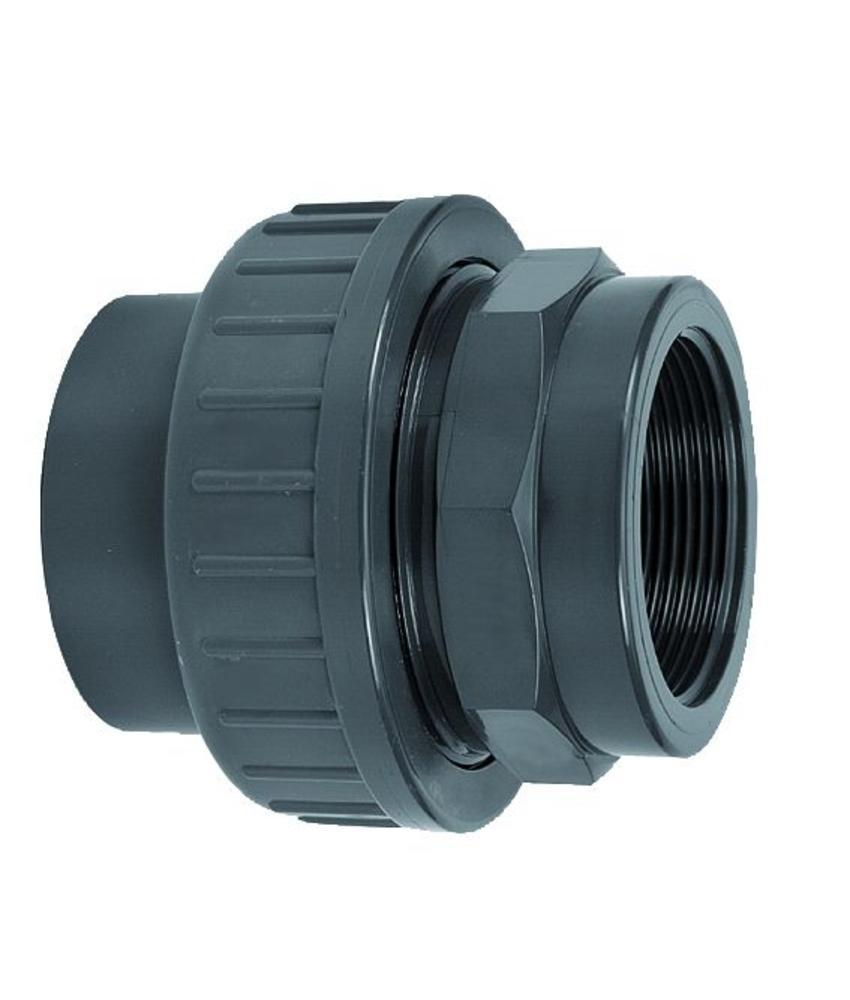 VDL PVC drie-delige 25 x 3/4'' koppeling lijm- en binnendraadverbinding + RVS ring