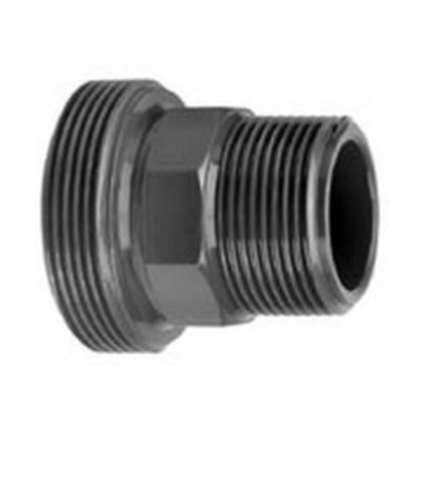 VDL PVC 1 1/2'' x 1'' draadeind buitendraad x buitendraad