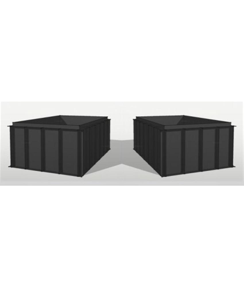 HDPE vijverbak 400 x 200 x 150 zwart