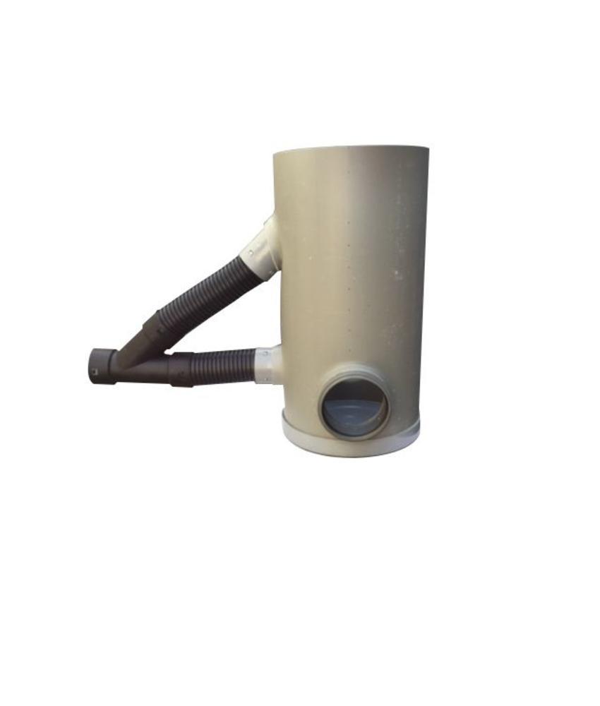 Drainageput Ø315 met deksel, 2 x PVC 125mm aansluitingen en 80-65 mm drainageaansluiting