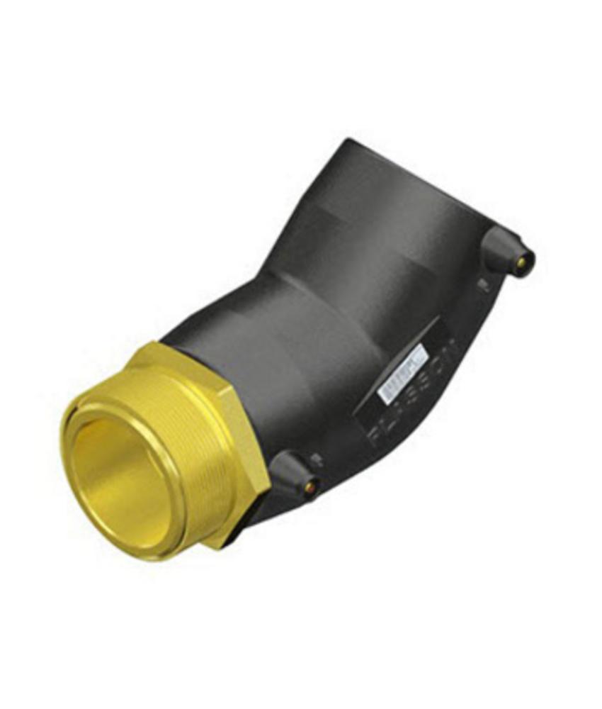 """Plasson Elektrolas overgangsknie 63 mm x 1¼"""" - 45° messing bu.dr."""