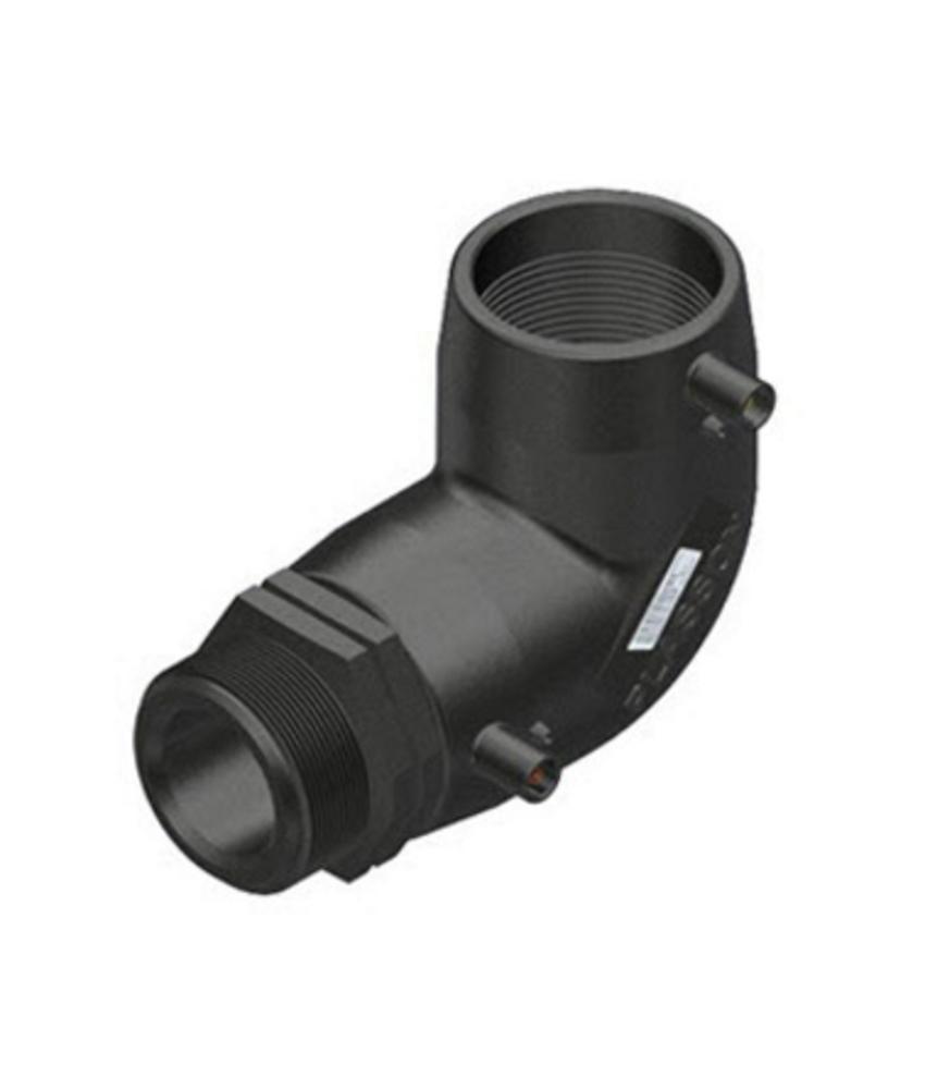 "Plasson Elektrolas overgangsknie 63 mm x 1½"" - 90° voor water bu.dr."