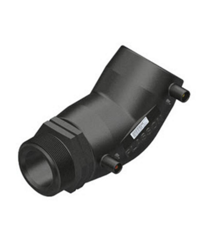 "Plasson Elektrolas overgangsknie 63 mm x 2"" - 45° voor water bu.dr."