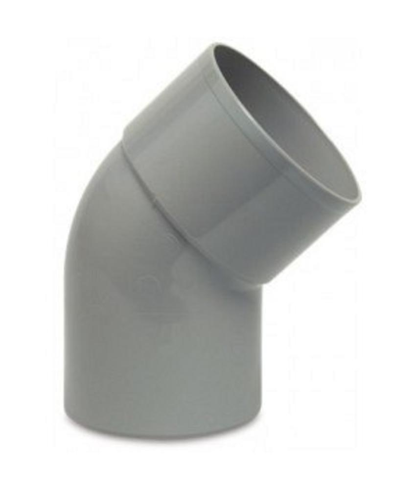 PVC HWA bocht mof / spie 45° - 70 mm