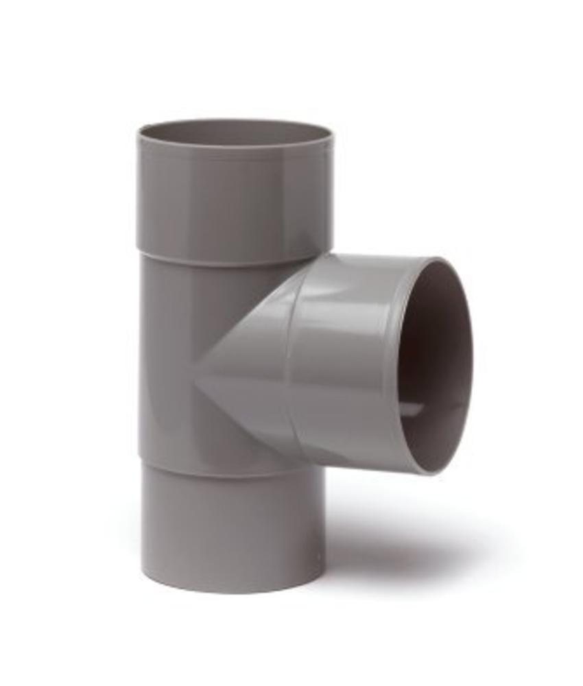 PVC HWA T-stuk 2x mof 90° - 100 mm verjongd spie-eind