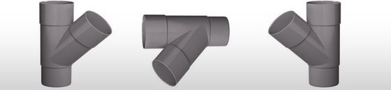 PVC HWA T-stuk 2x mof 45 graden verjongd spie-eind