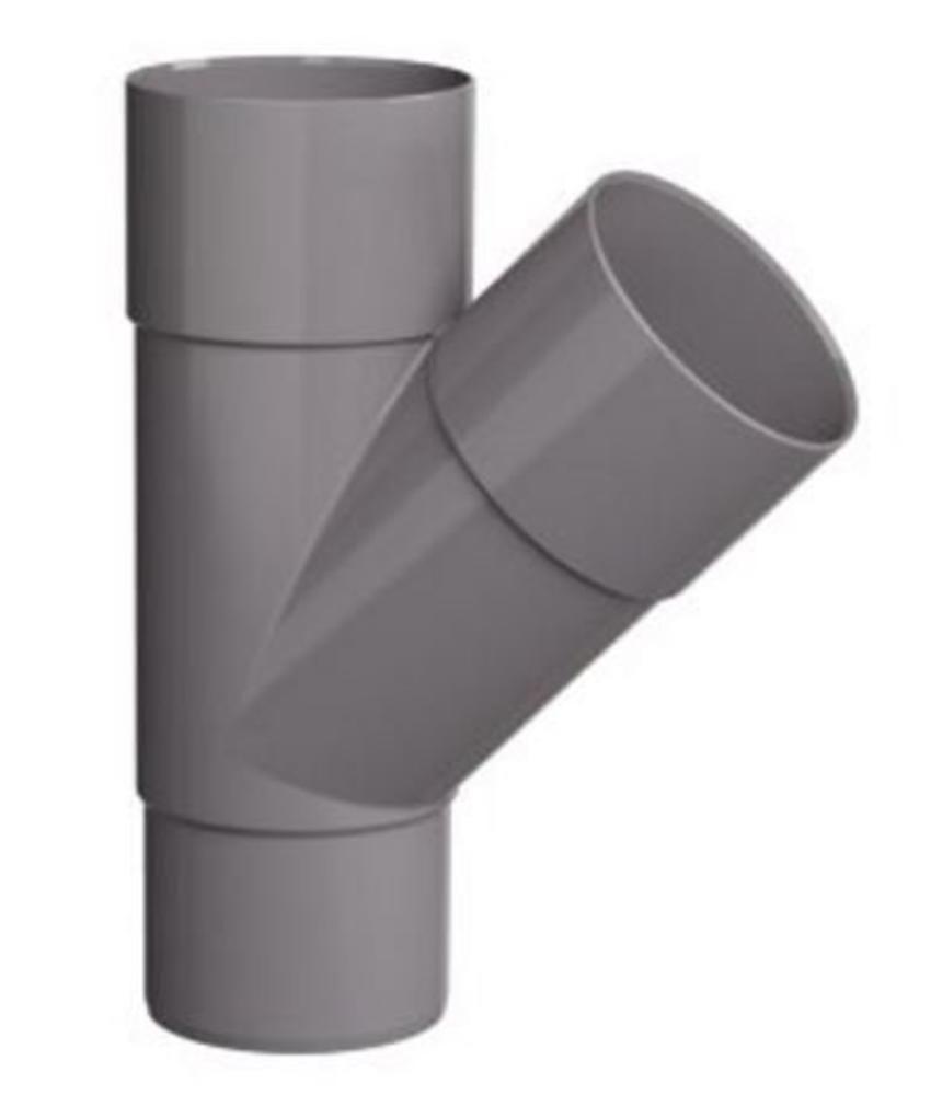 PVC HWA T-stuk 2x mof 45° - 70 mm verjongd spie-eind