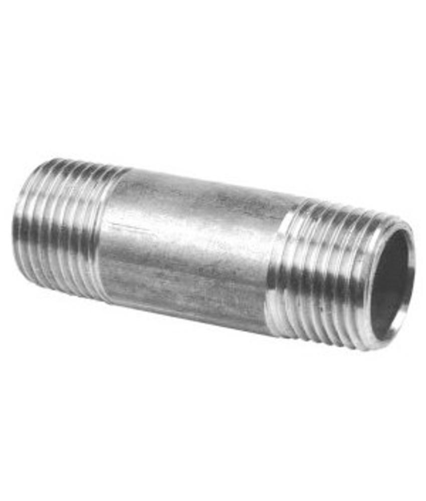 """RVS Pijpnippel 1"""" x 60 mm"""
