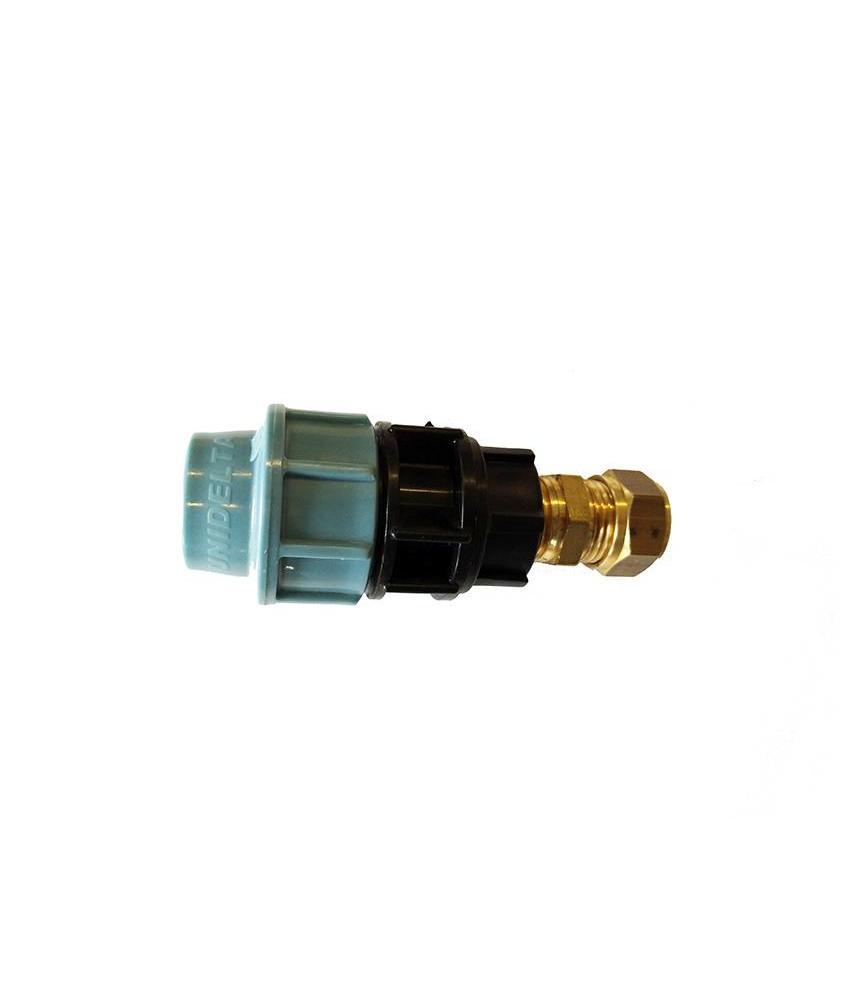 Uni Delta PE tyleen - koper overgangskoppeling | 16mm x 15mm
