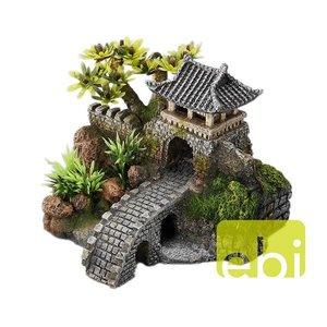 Aziatische Poortbrug met planten
