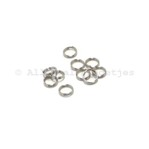 Splitringen 6mm zilverkleurig (10 st)