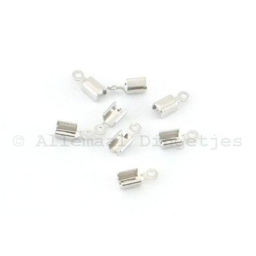 Veterklemmen klein 2x7mm zilverkleurig (8 st)