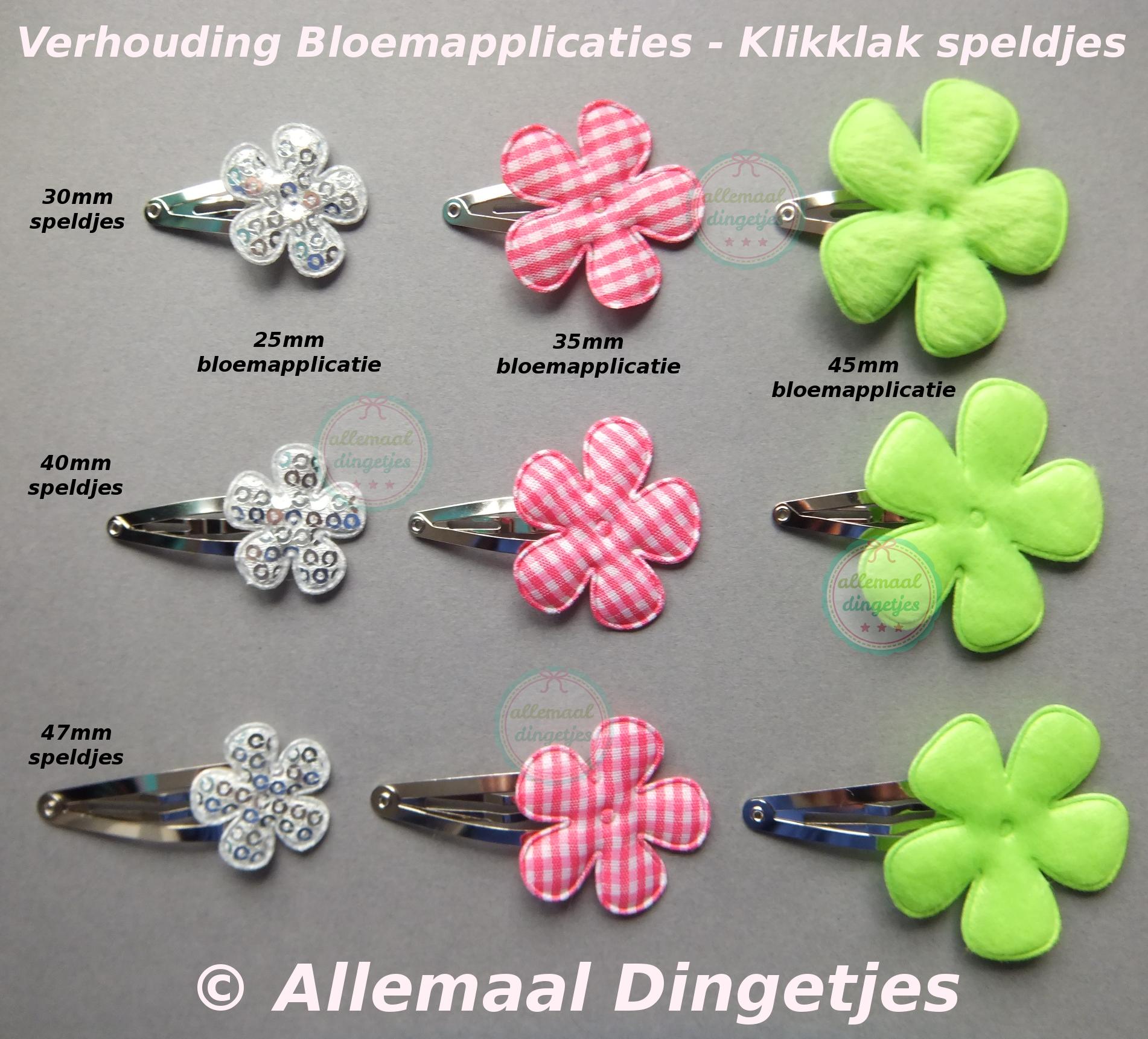 Verhouding bloemapplicaties t.o.v. klikklak speldjes