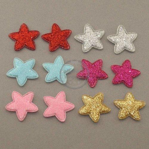 Ster applicatie glitter mix 25mm (12 st)