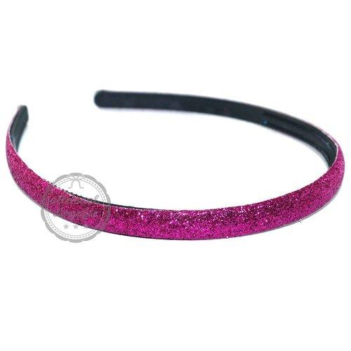 Diadeem haarband glitters fuchsia magenta 10mm (per stuk)