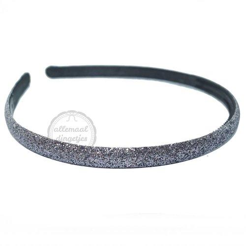 Diadeem haarband glitters donkergrijs 10mm (per stuk)